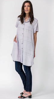 G&F Kaitlyn Cotton Blend Tunic Shirt - Breathable Naturals | Glam & Fame Clothing