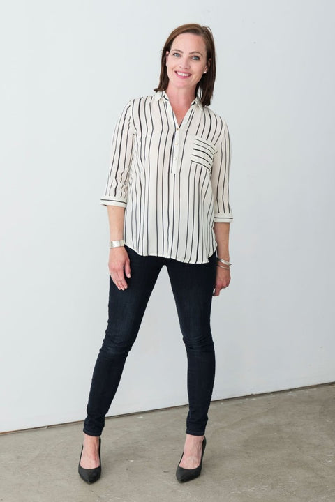G&F Nadia Striped Shirt - Breathable Naturals | Glam & Fame Clothing