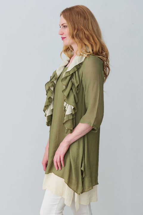 G&F Patricia Cotton Blend Tunic with Ruffle Scarf - Breathable Naturals | Glam & Fame Clothing