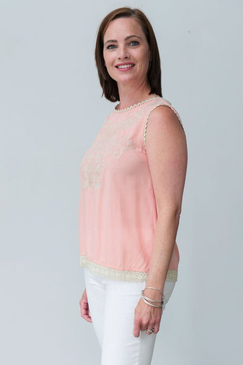 G&F Rachel Cotton Blend Top with Embroidery - Breathable Naturals | Glam & Fame Clothing