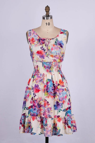 G&F Rebecca Cotton Blend Summer Dress in Floral Print - Glam & Fame | Breathable Naturals