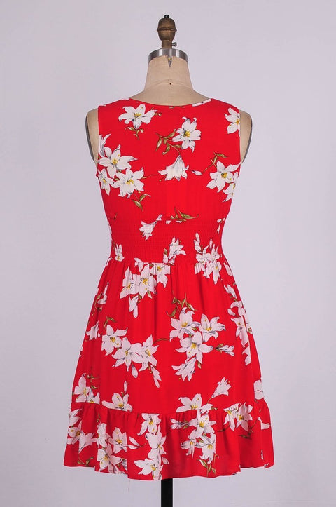 G&F Rebecca Cotton Blend Summer Dress in Red Floral - Glam & Fame | Breathable Naturals