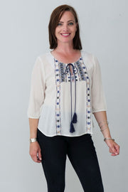 G&F Saniya Cotton Blend Top with Tie Neckline Embroidery - Breathable Naturals | Glam & Fame Clothing