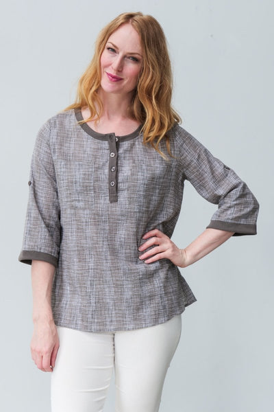 G&F Sloan Cotton Blend Textured Shirt - Breathable Naturals | Glam & Fame Clothing