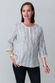 G&F Sloan Textured Cotton Blend Shirt - Breathable Naturals | Glam & Fame Clothing