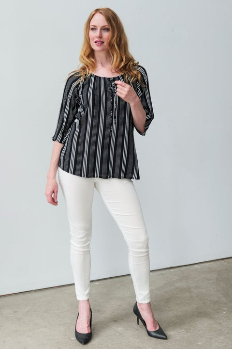 G&F Tanya Cotton Blend Top in Cabana Stripes - Breathable Naturals | Glam & Fame Clothing