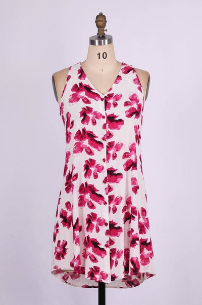 G&F Tara Cotton Blend Swing Dress in Wine Flower Print - Glam & Fame | Breathable Naturals