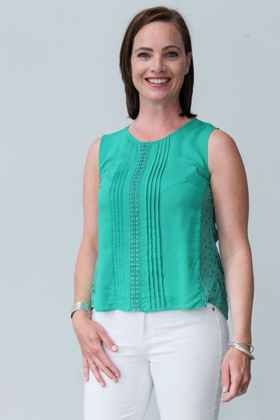 G&F Virginia Cotton Blend Top in Emerald - Breathable Naturals | Glam & Fame Clothing