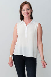 G&F Wanda Collar Top - Breathable Naturals | Glam & Fame Clothing