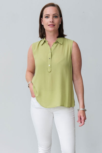 G&F Wanda Collar Top in Pistachio - Breathable Naturals | Glam & Fame Clothing