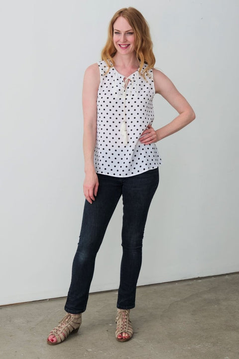 G&F Whitney Polka Dot Top with Neckline Tie - Breathable Naturals | Glam & Fame Clothing