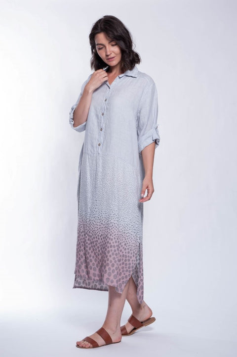 ITALIAN LINEN DRESS BUTTON DOWN - Breathable Naturals | Glam & Fame Clothing