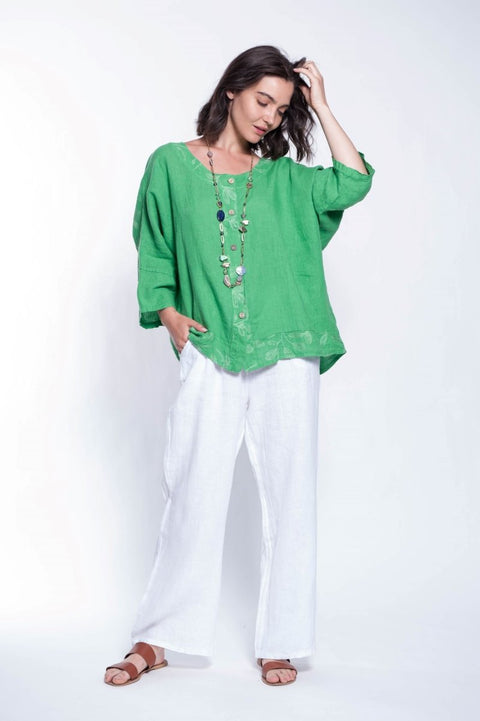 ITALIAN LINEN TOP WITH EMB - Breathable Naturals | Glam & Fame Clothing