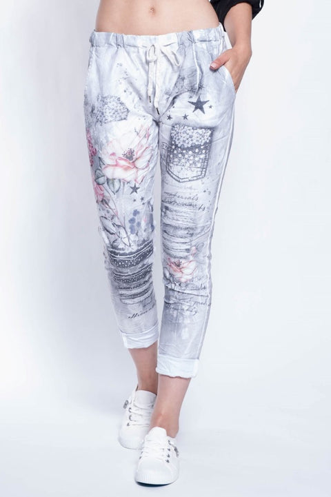 ITALIAN PANTS CROP FLORAL - Breathable Naturals | Glam & Fame Clothing