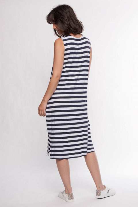 Jersey Knit Midi Striped Dress - Breathable Naturals | Glam & Fame Clothing