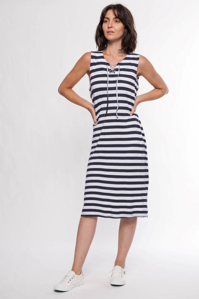 Jersey Striped Midi Dress - Breathable Naturals | Glam & Fame Clothing