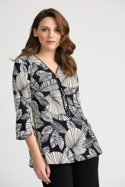 Joseph Ribkoff Front Zip Blouse - Glam & Fame | Breathable Naturals