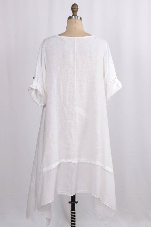 Exclusive Made in Italy Linen Dress with Arched Hem - Glam & Fame | Breathable Naturals
