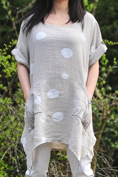 Exclusive Made in Italy Linen Tunic with Polka Dots - Glam & Fame | Breathable Naturals