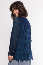 Knit Cardigan with Lace Back - Breathable Naturals | Glam & Fame Clothing