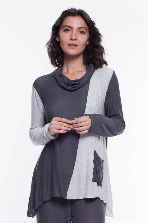 Knit Cowl Pocket Top - Breathable Naturals | Glam & Fame Clothing