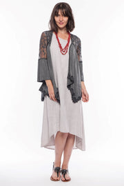 Lace Cardigan with Bell Sleeves - Breathable Naturals | Glam & Fame Clothing