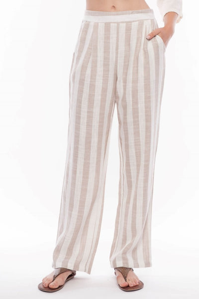 Linen Blend Cabana Stripe Pants - Breathable Naturals | Glam & Fame Clothing