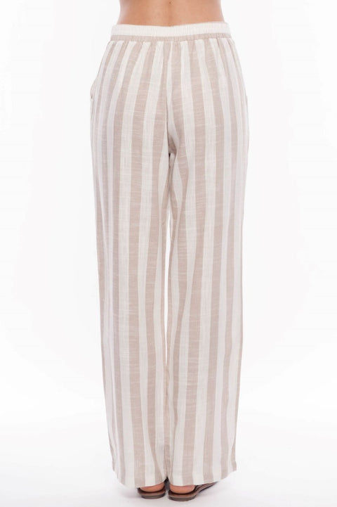 Linen Blend Striped Pants - Breathable Naturals | Glam & Fame Clothing