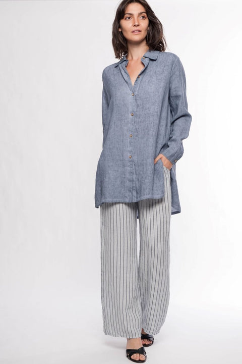 Linen Boyfriend Shirt - Breathable Naturals | Glam & Fame Clothing