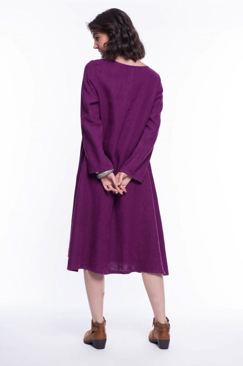 Linen Long Sleeve Midi Linus Dress - Breathable Naturals | Glam & Fame Clothing