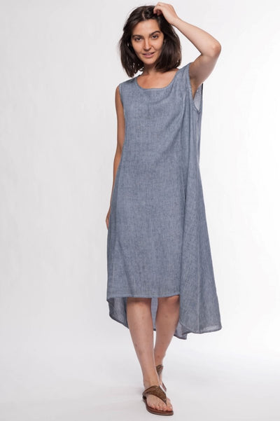 Linen Premium Washed Sleeveless Dress - Breathable Naturals | Glam & Fame Clothing