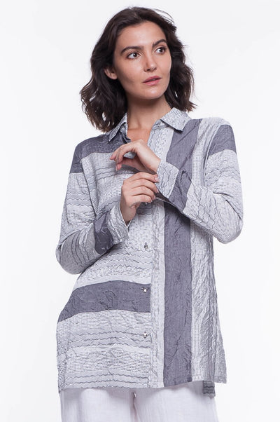 Long Texture Stripe Shirt - Breathable Naturals | Glam & Fame Clothing