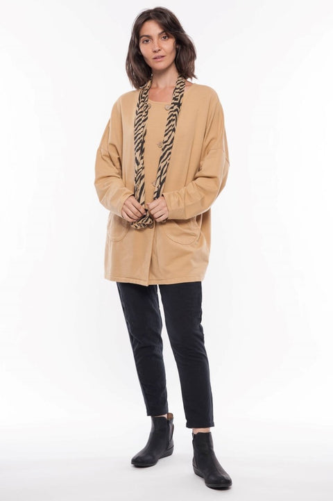 Made in Italy Cotton French Terry Jacket and Scarf - Breathable Naturals | Glam & Fame Clothing