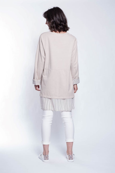 Made in Italy Cotton Mixed Media Tunic - Breathable Naturals | Glam & Fame Clothing