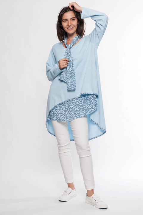 Made in Italy Cotton Tunic with Scarf - Breathable Naturals | Glam & Fame Clothing