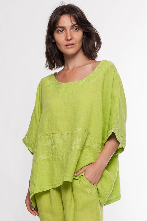 Made in Italy Linen Embroidered Top - Breathable Naturals | Glam & Fame Clothing