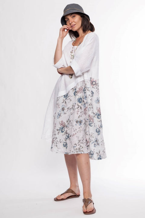 Made in Italy Linen Floral Midi Dress - Breathable Naturals | Glam & Fame Clothing