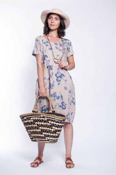 Made in Italy Linen Mixed Media Dress - Breathable Naturals | Glam & Fame Clothing