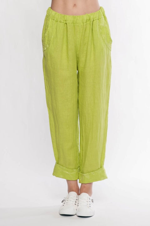 Made in Italy Linen Pants with Pocket and Hem Embroidery - Breathable Naturals | Glam & Fame Clothing