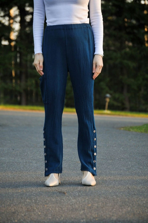 Salvia Pants in Crushed Cotton with Marble Button Side Vents - Glam & Fame | Breathable Naturals