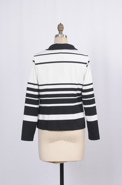 Soft Jersey Style Jacket with Gradient Lines - Glam & Fame | Breathable Naturals