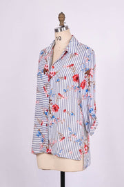 Floral on Stripes Collar Shirt with Hi-Lo Hem - Glam & Fame | Breathable Naturals