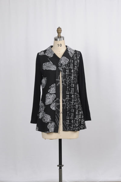 Minkas Jacket Contrast Print - Glam & Fame | Luxury Boutique-Minkas