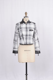 Fringe Plaid Knit and Faux Leather Jacket - Glam & Fame | Breathable Naturals