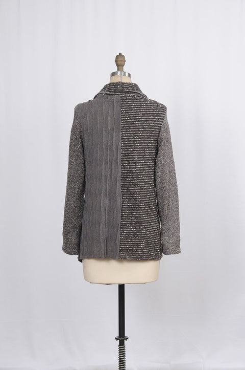 Textured Media Sweater Jacket - Glam & Fame | Breathable Naturals