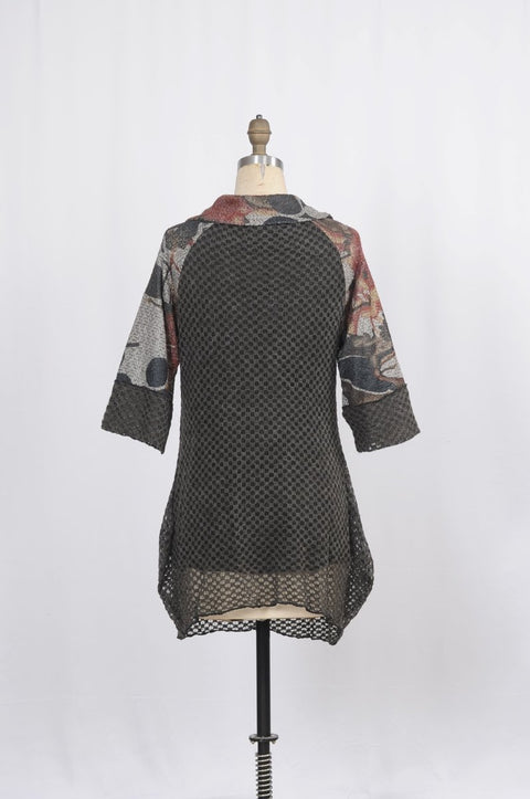 Waffle Knit Tunic with Media Blocking - Glam & Fame | Breathable Naturals