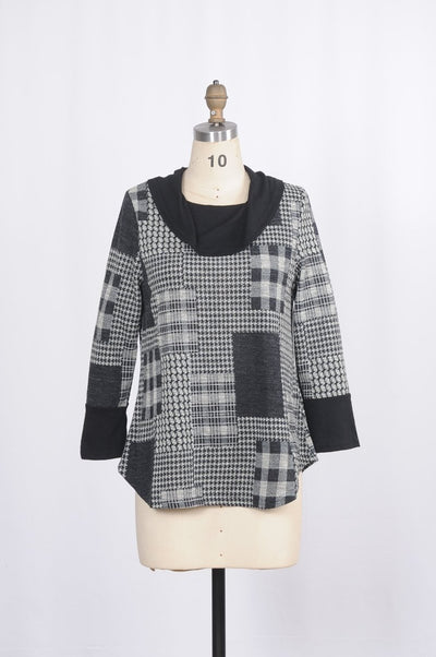 Minkas Tunic Plaid Drop Collar - Glam & Fame | Luxury Boutique