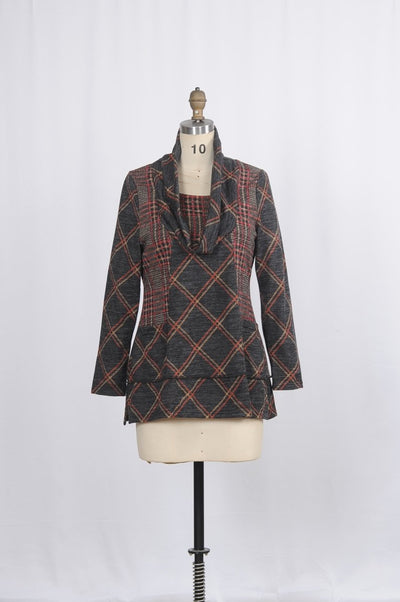Cowl Collar Plaid Tunic - Glam & Fame | Breathable Naturals