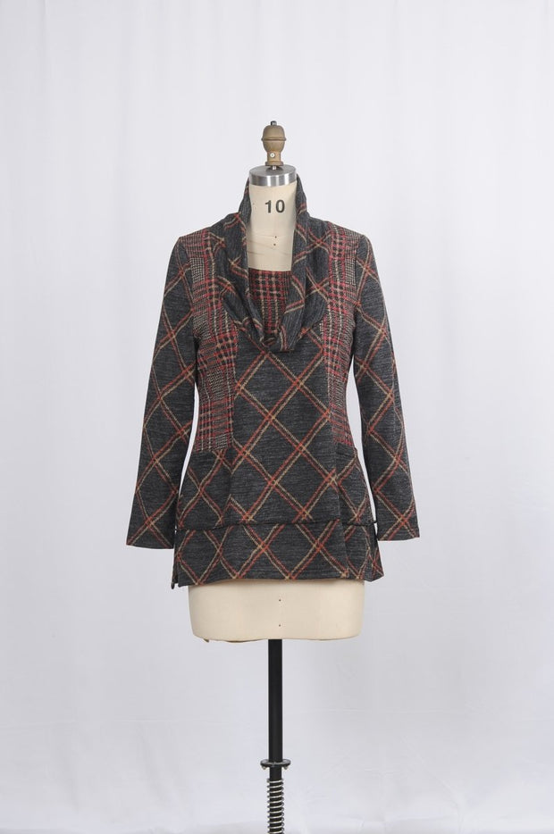 Minkas Tunic Plaid W Pockets Cowl Collar - Glam & Fame | Luxury Boutique