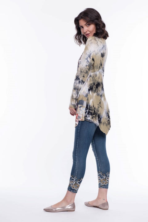 Mixed Media Velvet Flocking Top - Breathable Naturals | Glam & Fame Clothing